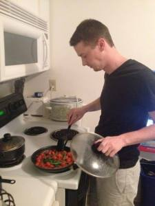 A rare photo of Andrew cooking, from the first Sunday Night Supper recording